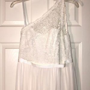 Davids Bridal Lace one shoulder dress